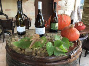 Trois bouteilles de vins blancs de la cave du restaurant Lou Cantoun de Bernard Gisquet