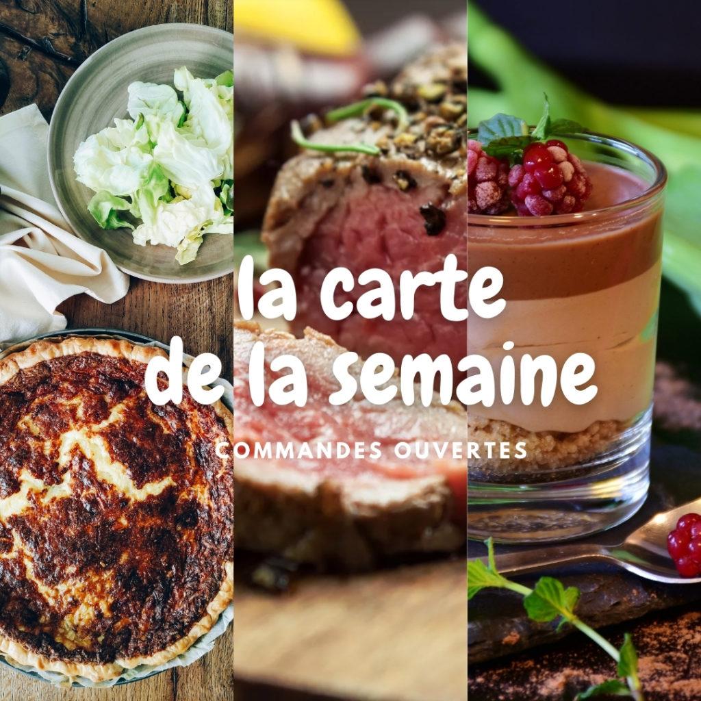 Carte des plats à emporter au restaurant Lou Cantoun à Cestayrols dans le Tarn à côté d'Albi et Gaillac et Cordes