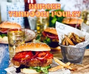Le burger au poulet tandoori façon restaurant Lou Cantoun de bernard Gisquet