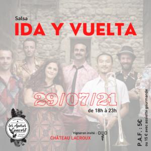 Le groupe de salsa Ida y Vuelta aux Apéros Concerts du Jeudi de Bernard Gisquet à Cestayrols