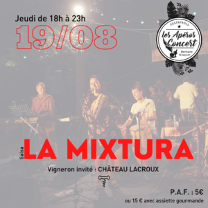 La Mixtura groupe musical de Salsa à l'apéro concert de Bernard Gisquet à Cestayrols